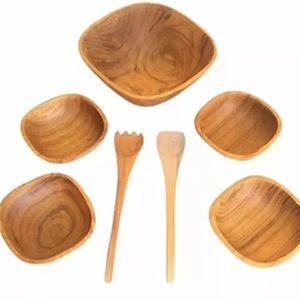 Goodwood Teak Wood Salad Bowl Set + Tools = 7pc